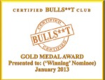 Gold Medal Award-January 2013