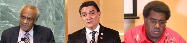 PM Sato Kilman, Deputy PM Moana Carcasses, MP Marcelino Pipite
